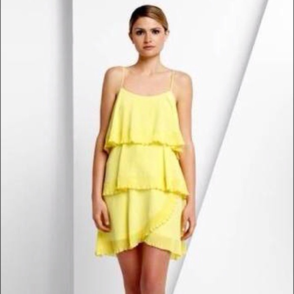 BCBGMaxAzria Dresses & Skirts - 🎉HP!🎉 BCBG Max Azria Yellow Silk Tiered Dress