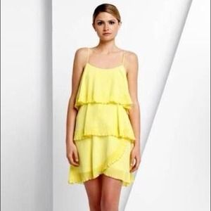 BCBGMaxAzria Dresses - 🎉HP!🎉 BCBG Max Azria Yellow Silk Tiered Dress