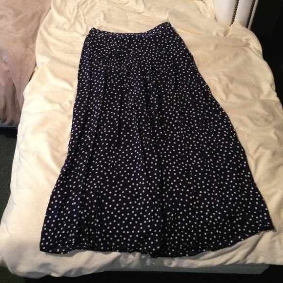 48% off Dresses & Skirts - Pleated highwaisted navy blue polka dot ...