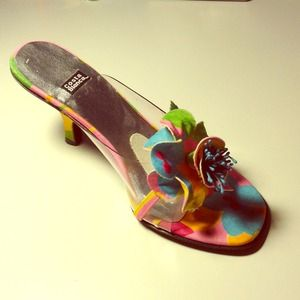 Fun and Flirty Pink Multicolor Flower Heels