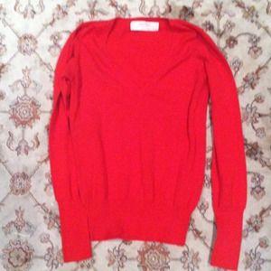 Zara bright red v neck sweater HOLD