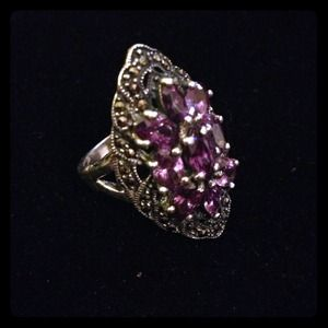 925 sterling silver marascite/amethyst ring.