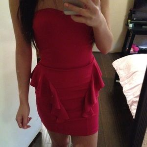 Dresses & Skirts - Hot Pink Bustier Peplum Scuba Dress