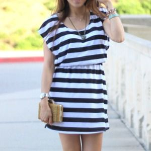 Striped black white blouson dress