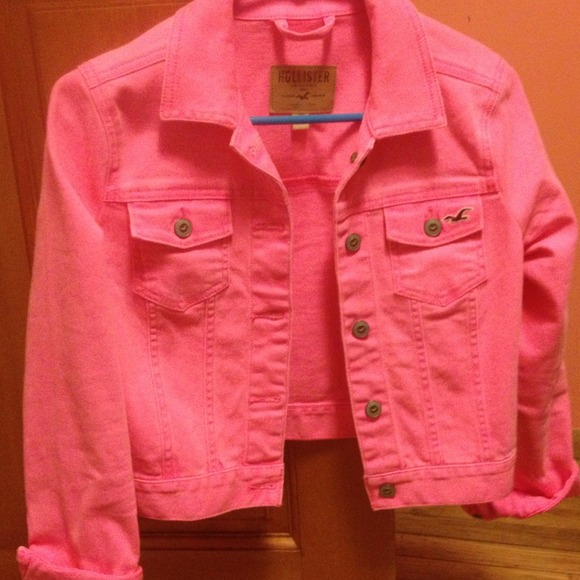 Hollister Jackets Amp Coats Hot Pink Denim Jacket Poshmark