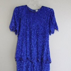 Cobalt blue beaded silk gatsby dress- party chic