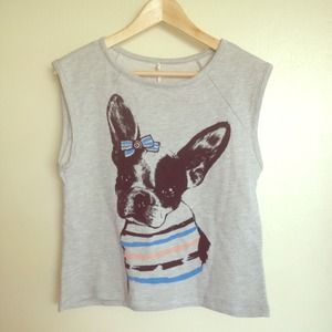 🐶Grey sleeveless top with baby bulldog print
