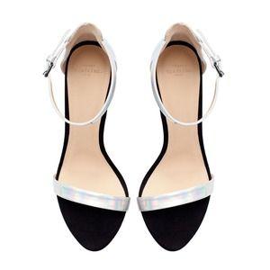 4436c8ce341 Zara Shoes - 😍😍 Zara Black Iridescent Heeled Sandals 38   7.5
