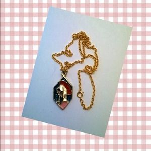 Jewelry - Stained glass Mary- costume enamel pendant w/chain