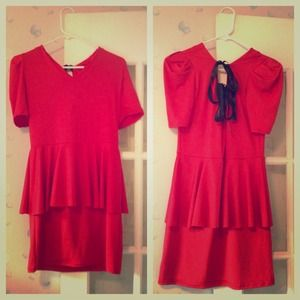 Dresses & Skirts - Nwot  red peplum bow back dress