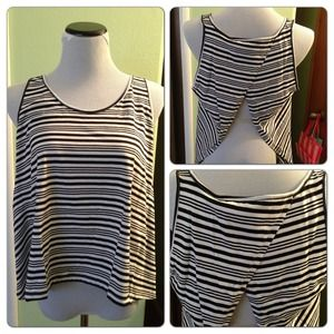 *NWOT* Striped shirt with a sexy open back