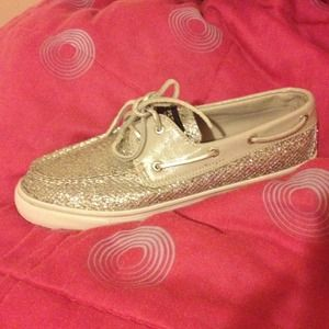 Sperry top-sider , glittery gray . Size 9M