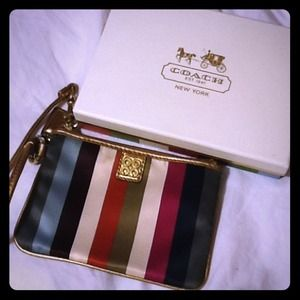 Coach Clutches & Wallets - COACH multi legacy stripe poppy pop wristlet