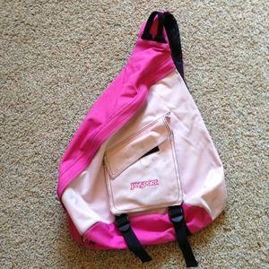 Pink jansport cross body backpack