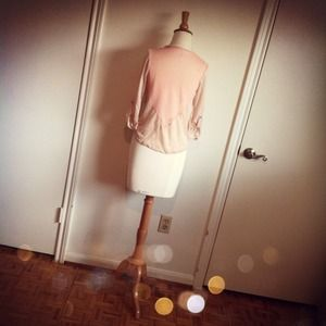Tops - Peach Front Tie Cardigan + Cuffed Sleeves