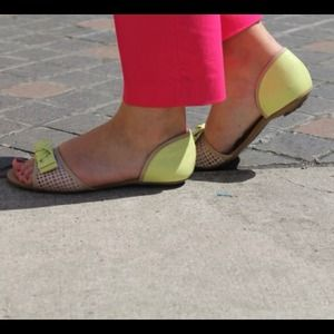 Akira Perforated Tan/Lime Bow Sandals