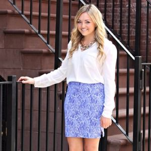 Persifor Coral Reef Pencil Skirt - Blue & White