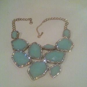 Rhinestone turquoise gold necklace