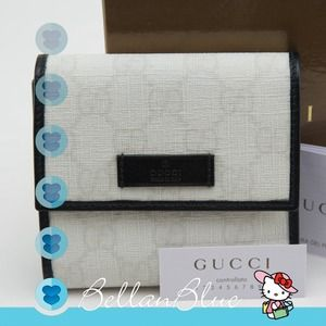 Gucci Handbags - 💯AUTHENTIC Gucci tri-fold wallet black white