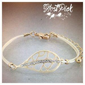 Jewelry - Cream colored gold leaf bracelet