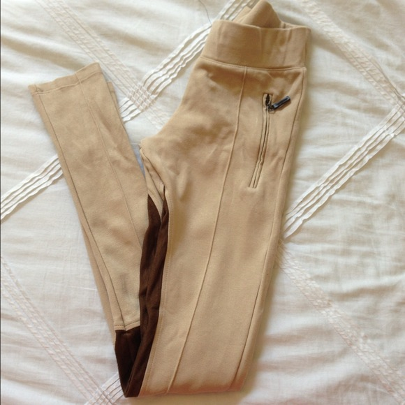 Zara suede patch leggings riding pants in camel, white, black and.