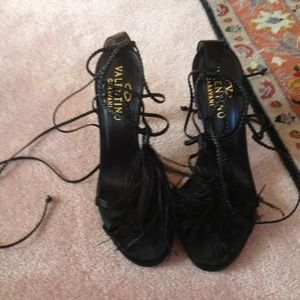 Black Valentino feather sandals
