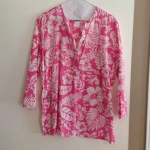 Ralph Lauren Tops - Pink flower Ralph Lauren 100% cotton poplin tunic