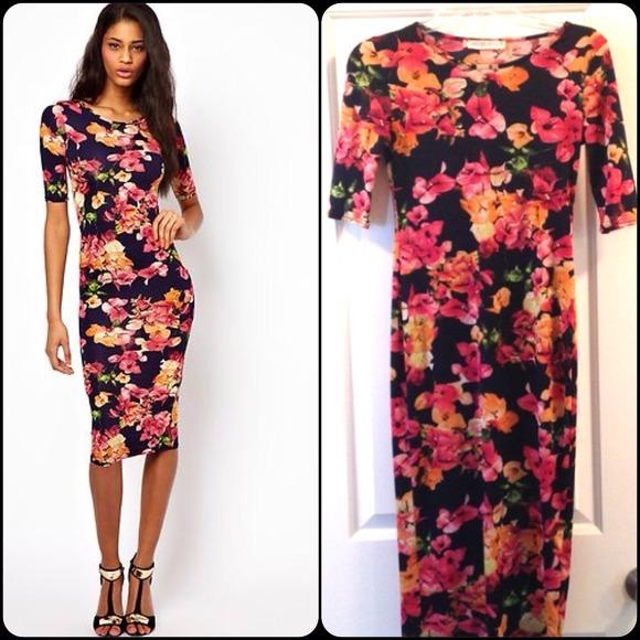Printed Bodycon Midi Dress