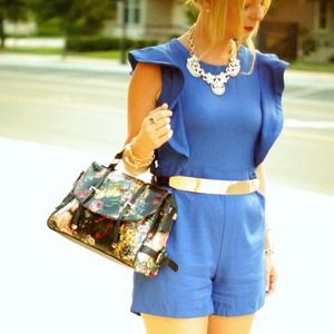 Other - Cobalt blue shorts romper with belt