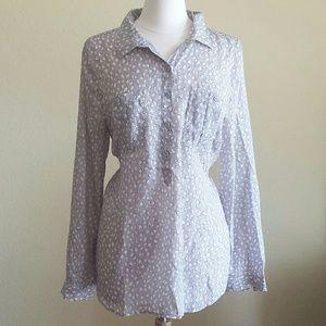 NWT Ann Taylor Loft Hearts Shirt Blouse
