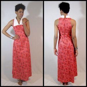 vintage 70s bandana print maxi dress