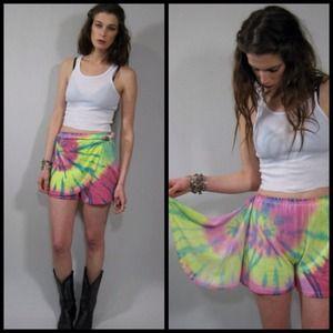 vintage 80s tie dye skort, skirt short