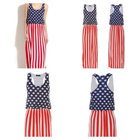 Dresses   American Flag Maxi Dress Fits 1012   Poshmark
