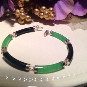 Jewelry - 925 STerling genuine jade & onyx