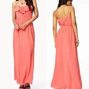 Dresses & Skirts - Coral Ruffle Maxi Dress