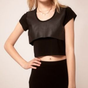 Factory by Erik Hart crop leather t-shirt