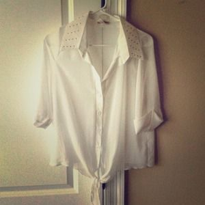 White chiffon button up shirt