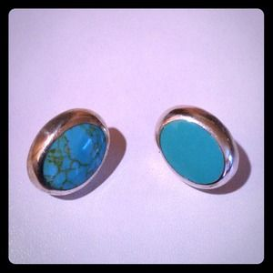 Turquoise/Sterling Silver Post Earrings (.925)