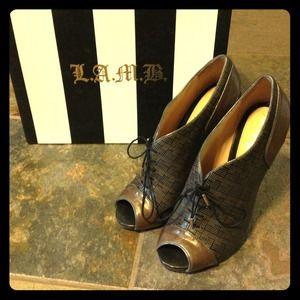 L.A.M.B. leather heels