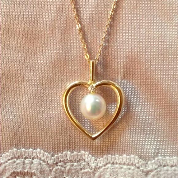 Mikimoto Jewelry - Mikimoto pearl heart with diamond accent necklace.