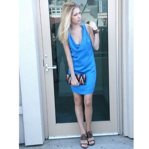 Blue Silk Charmeuse and Chiffon dress