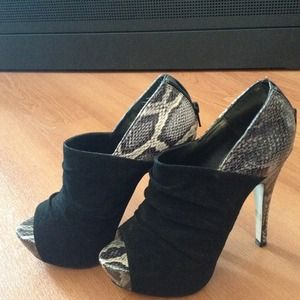 Shoes - Suede & Snake Booties