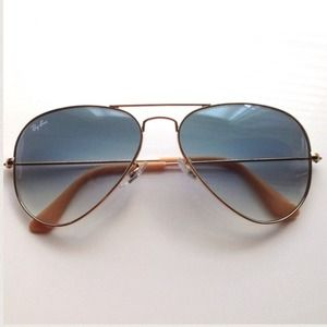 Rayban gold and taupe aviator sunglasses