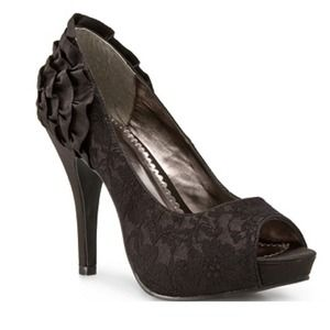 Shoes - Black Lace Peep Toes