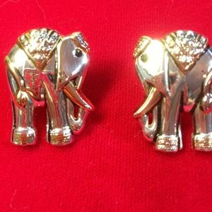 Elephant pierced earrings.  Silver /gold tone