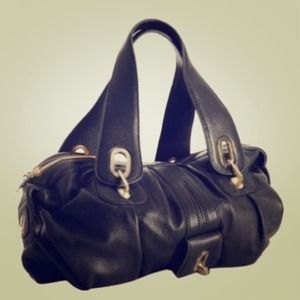 Gustto Parisio Black Leather Satchel