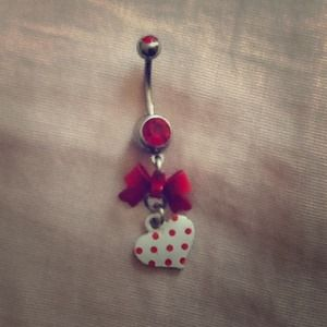 💝🎀💝Red/White Bow and Heart Belly Button Ring