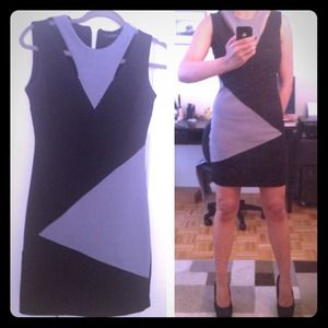 Sexy black and grey color block dress!