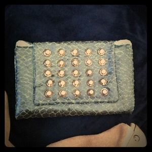 Green snakeskin wallet/clutch with gold studs