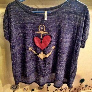 ❤⚓ Heart Anchor Drapey Hi-Low Oversized Shirt Top